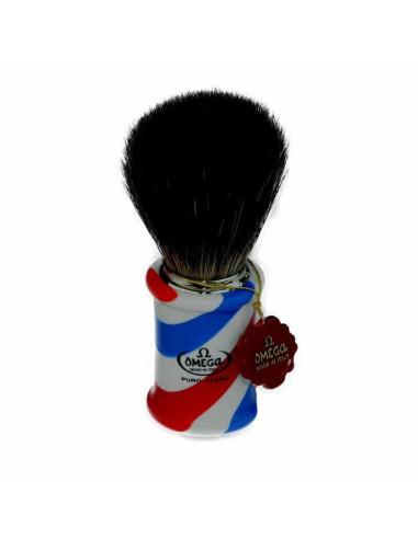 """Omega Black Badger """"Barber Pole"""" Shaving Brush"""