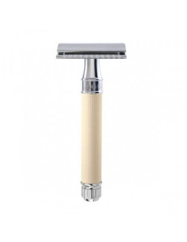 Edwin Jagger Double Edge Razor Ivory Rubber Coated